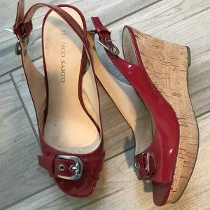Franco Sarto red patent wedge heels - Size 10